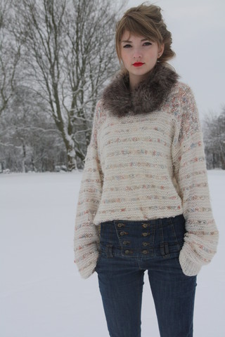 Alice Jones - Vero Moda Jeans, From My Coat Furthingy, Charityshop Knitjumper - Alice and alot of buttons