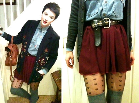 Maggie Matic - Levi's® Vintage Levi's Denim Shirt, Vivienne Westwood Buckle Belt, American Apparel Chiffon Skirt, Mulberry Alexa Bag, Thrifted Emroidered Blazer, Topshop Love Heart Tights - It's begining to look a lot like Christmas.