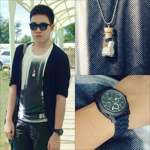 Lorenzo Paolo Garcia - Sunglasses, Riot Black Cardigan, Oxygen Photographic Shirt, Diy Black Denim Shorts, Candy Necklace, Fossil Monochrome Watch - Keep it cute or put it on mute