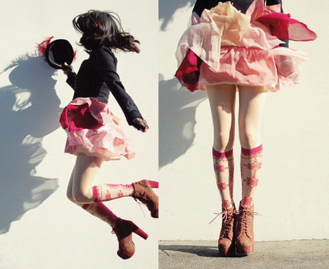 Shan Shan - Antipast Socks, H&M Dress, Ralph Lauren Jacket, Jeffrey Campbell Shoes - Pink wind and shadow