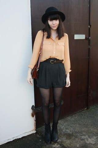 Sarah B - Sheer Blouse, High Waisted Grey Shorts, Leopard Print Belt, Bowler Hat - Mustard.