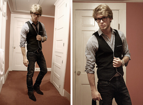 Dorian Sanders - H&M Vest, Express Jeans, Zara Tie - Take Me Home Tonight
