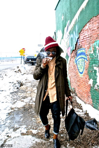 Kadeem Johnson - Thrifted Trench Coat, Thrifted Shirt, All Saints Jeans - Another Chill in the Air