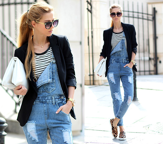 Sirma Markova - Choies Denim Dungaree, Choies T Shirt, Persun Slip On Sneakers, Choies Clutch Bag, Choies Sunglasses With Metal Arrow, Bershka Blazer - Denim and Stripes
