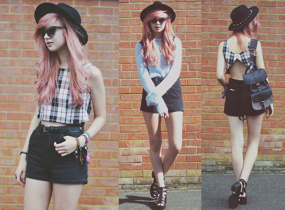 Amy Valentine - H&M Spike Fedora, Hello Margaret Tartan Backless Crop Top, Vintage Pastel Blue Knit Jumper, New Look High Waisted Mom Shorts, Boohoo Chunky Sandals, Grafea Black Houndstooth Rucksack, Zerouv Cateye Sunglasses - HELLO MARGARET