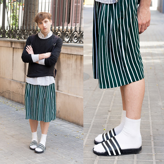 Jorge Barceló - Adidas Adilette Slides, Vintage Pants, Ami Sweater, Canali Shirt, Fred Perry Backpack - STRIPES ALL OVER