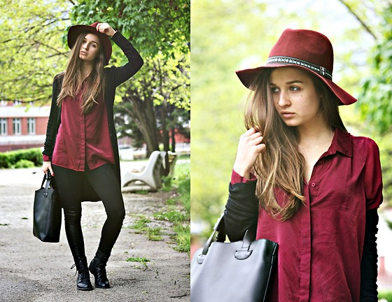Cveti Dimitrova - H&M Burgundy Hat, H&M Burgundy Shirt - Red red wine goes to my head..