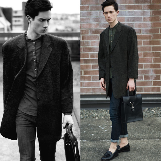 Nigel Lew - Paul Rizk Mandarin Collar Shirt, Cheap Monday Jeans, Vintage Loafers, Vintage Oversized Suit Coat - He was Here