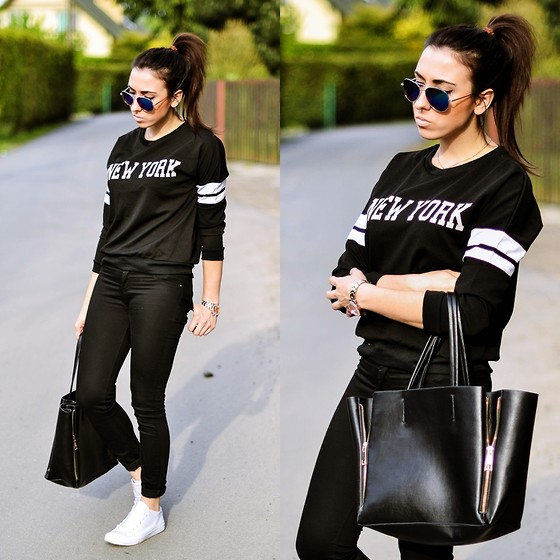 Pam S - Persun Sweatshirt, Zara Pants, Chic Wish Bag - Lazy day
