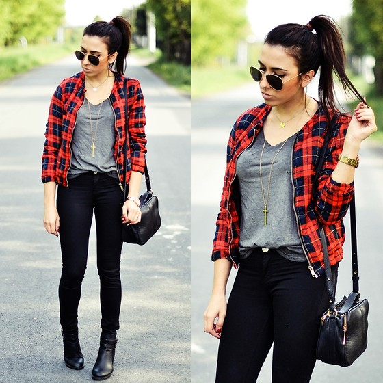 Pam S - Persun Jacket, Zara Pants, H&M T Shirt, Zerouv Sunnies - Plaid jacket