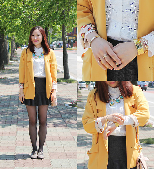 La Yeon Kim - Cheap Monday Me Bangle, Coco Bling Yellow & Mint Necklace, Internet Shopping Mall Yellow Blazers, Da Hong Gray Peplum Skirts - Yellow spring