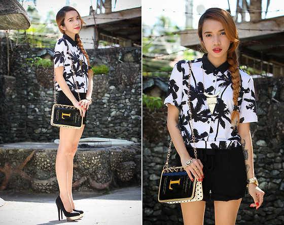 Wicked Ying NEW - Black Fice Cropped Buttondown, Oasap Book Clutch - Last Thing I Saw Before I Died