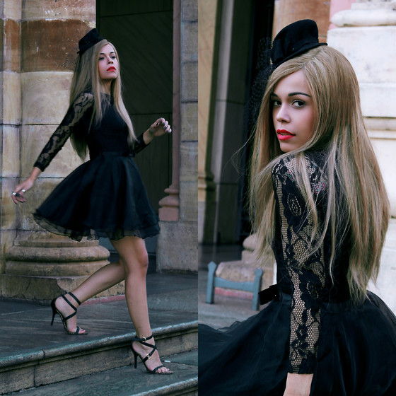 Priscila Diniz - Black Dress, Hat, Sandals, Lipstick - And suddenly I see you, like a sweet surprise