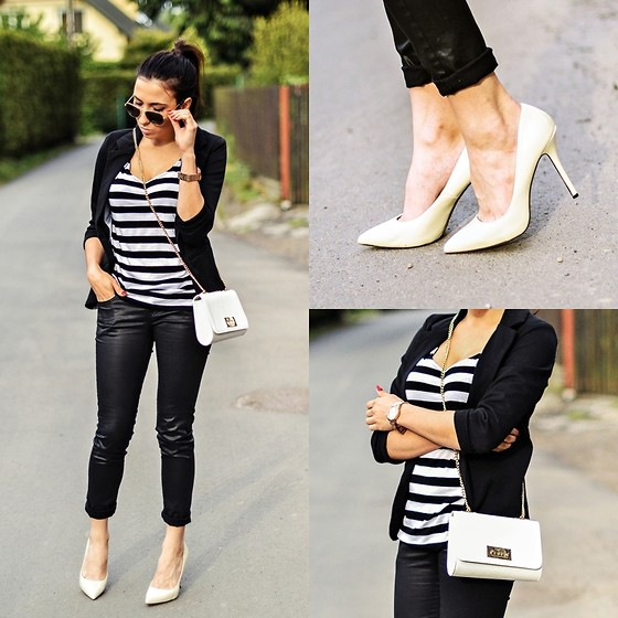 Pam S - Romwe Jacket, Mohito Bag, Zara Pants - Black&white