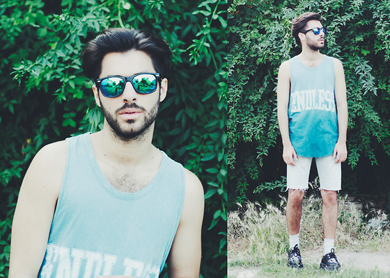 JJ Reyes - Bershka Top, Bershka Denim Shorts, Underground Shoes, Zerouv Sunglasses - ENDLESS