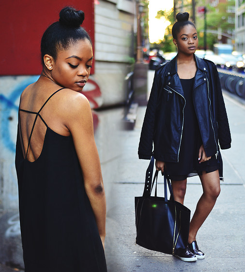 Alicia Nicholls - Sheinside Black Sleeveless Spaghetti Straps Backless Dress, Asos Dockland Sneakers, Forever 21 Zippered Tote, Forever 21 Moto Jacket - Back to black + LBD