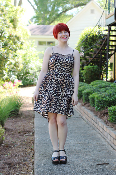 Jamie Rose - Xhileration Leopard Print High Low Dress, Xhileration Brown Clog Sandals - Leopard Love