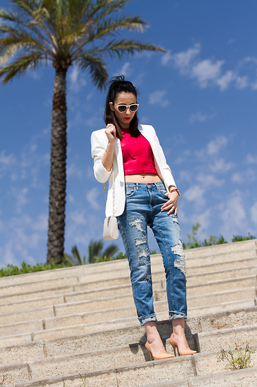 WOWS . - With Or Without Shoes Blog More Pics & Details - Wearing Red Leather Cropped Bodice