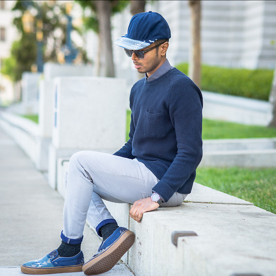 Josh Walter - Pendleton Hat, Muji Jumper/Watch/Socks, Topman Shirt/Jeans, Vans Classics - Blue Boy.