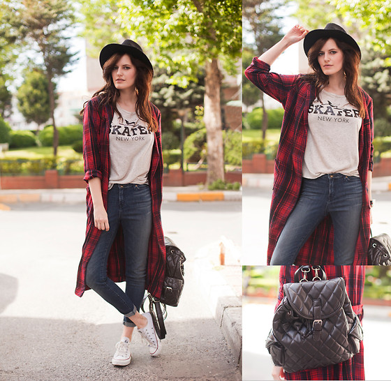 Viktoriya Sener - Frontrowshop Coat, Zara Tee, Kill City Jeans, Converse Trainers, Zara Hat, Chic Wish Backpack - TARTAN COAT/$100 GIVEAWAY!