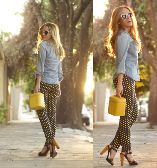Cassandra De La Vega - Chanel Vintage, Gap Denim Shirt, Zara Pants, Fendi Shoes, Karen Walker Sunglasses - Denim Shirt
