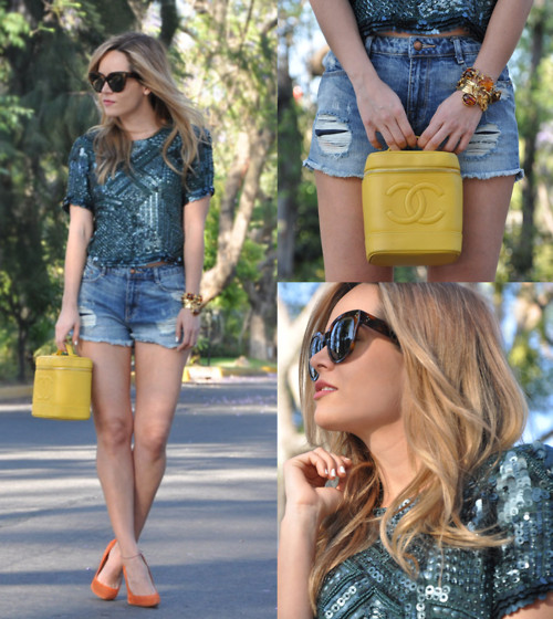 Cassandra De La Vega - Zara Top, Céline Sunglasses, Topshop Shoes, Chanel Vintage Bag, Saint Laurent & Vintage Bracelets - Denim & Sequins