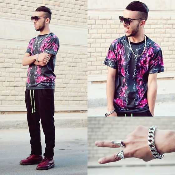 Faissal Yartaa - Choies Black Unisex T Shirt With Rose Print, Men's Korean Fashion Mid Rise Cotton Sport Casual Pants, Zubiro, Choies Silver Triangle Pack Rings, Giant Vintage - Kanye West - Stronger