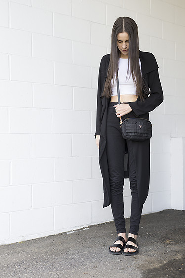 Melissa Araujo - Oak Jacket, Cyeoms Crop Top, Prada Bag, American Apparel High Waist Jeans, Zara Birks - Birks