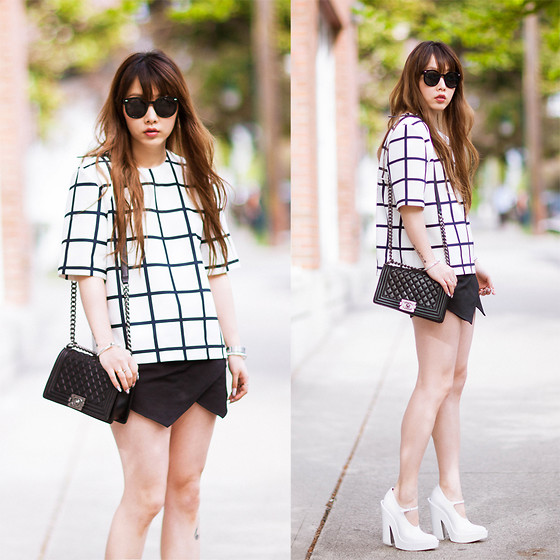 Ivy Xu - Finders Keepers The Label Top, Zara Skort, Chanel Bagc, Alexander Wang Heels - Ordinary day
