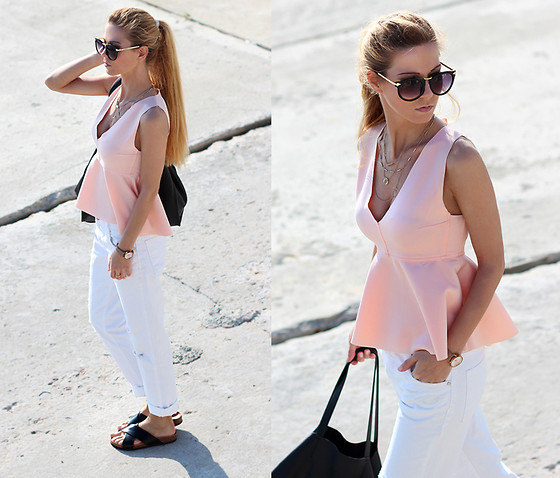 Sirma Markova - Choies Pink Low Cut Peplum Blouse, Zara Jeans, Bershka Bag, H&M Bio Sandals, Choies Sunglasses With Metal Arrow, Parfois Watch, Zara Necklace - Distressed Boyfriend + Flamingo Pink Peplum