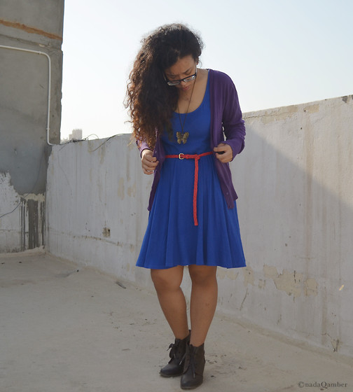 Nada Qamber - Forever 21 Blue Dress, Purple Cardigan, H&M Pink Belt, Forever 21 Dark Brown Boots - Let's play with colors