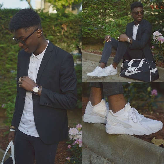 Marc-Henri Ngandu - Zara Black Blazer, New Look Old Bike White Polo, H&M Black Skinny Jeans, Nike Air Huarache Platinum, Nike Fourre Tout - Platinum