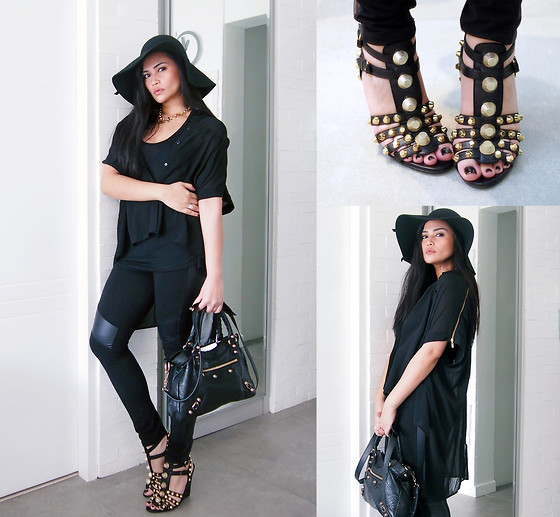 Raleene Cabrera - Balenciaga Studded Wedge Sandals, Balenciaga Town, Forever 21 Sheer Top, Tiffany & Co. Chain Necklace, Zara Hat - No more games, I believe.