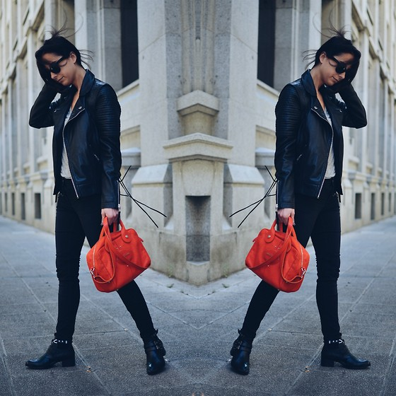 Milagros Plaza - Twist & Tango Black Jaquard Leather Perfecto Jacket, Longchamp Orange Ss14 Bag, Egus In Love Black Leather Cut Out Boots - Hola Madrid