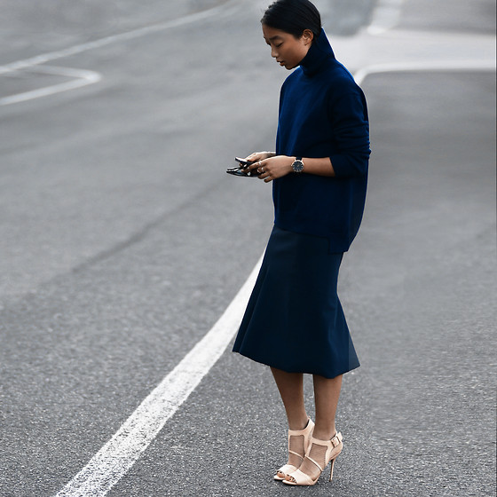 Margaret Zhang - Bassike Funnel Neck Sweater, Bassike Midi Skirt, River Island Nude Mesh Heels, Larsson & Jennings Vogue Watch - Back to Bassike