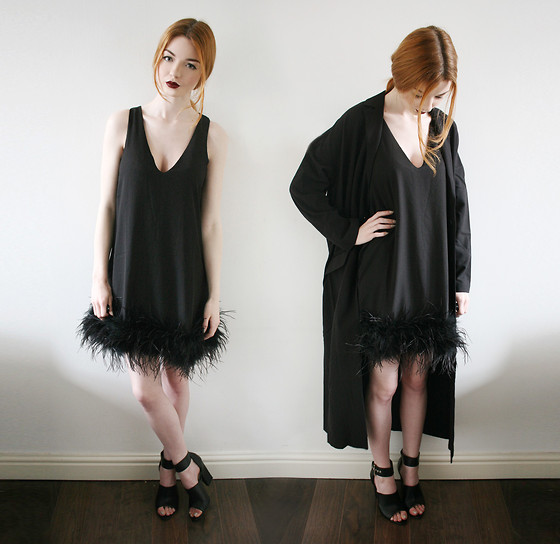 Hannah Louise - Missguided Feather Hem Dress, Asos Duster Coat, Missguided Sandals - My Company Bloggers outfit!