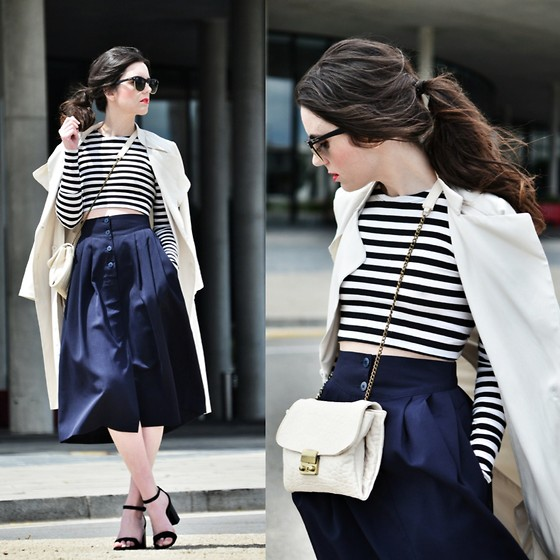 Laura Views - Vintage Skirt, Zara Shoes, Zara Top, H&M Trench, Brussosa Bag - Stripes,midi and trench