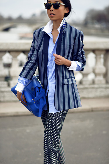 Margaret Zhang - Viktor&Rolf Striped Blazer, Josh Goot Shirt, Mulberry Blue Bag, Viktor&Rolf Polka Dot Pants, Prism Sungasses - Pont Alexandre III