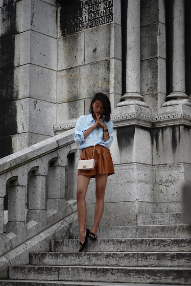 Margaret Zhang - Equipment Brent, Zara Leather Short, Mulberry Bayswater Clutch, Mode Collective Smoking Slippers - Mon Sacre-Coeur