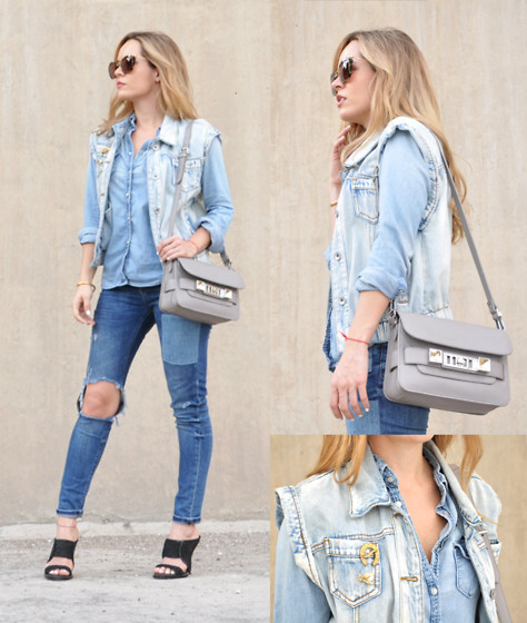 Cassandra De La Vega - Asos Vest, Gap Shirt, Miu Sunnies, L.A.M,B Shoes, Proenza Schouler Bag - Denim all the Way