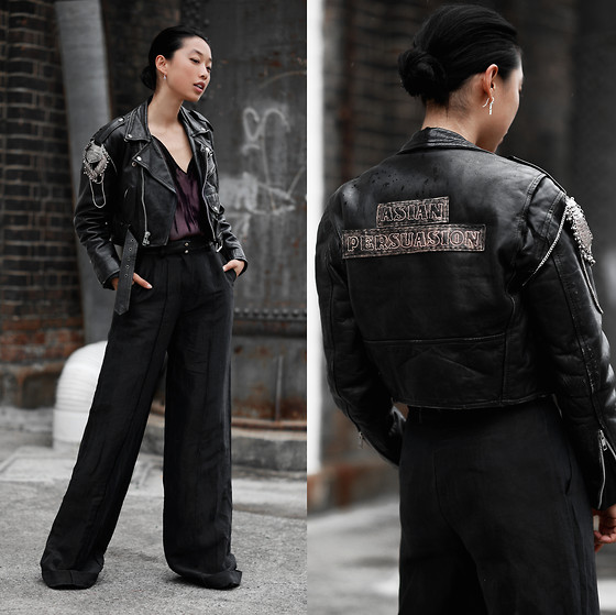 Margaret Zhang - Understated Leather Custom Jacket, Alexander Wang Velvet Camisole, Aje Wide Leg Pants, Alice Or Cross Earring - Asian Persuasion