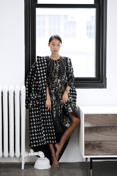 Margaret Zhang - Zimmermann Eyelet Dress, Zimmermann Houndstooth Coat - Talk of the Town