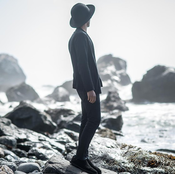 Josh Walter - Ann Demeulemeester Hat/Shoes, Muji Cardigan, Rick Owens Jeans - Against The Tide.
