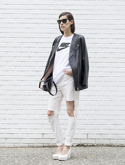 Melissa Araujo - H&M Leather Jacket, Nike Top, Alexander Wang Marion Bag, Diy Ripped Jeans, H&M Heels - Nike ✔️