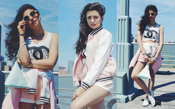Amy Marietta - Missguided Jacket, Shauns Shades, Trax Nyc Watches - Cotton Candy Skies