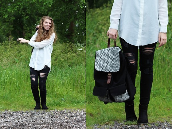 Life Of Roshelle - H&M Pants, Clarks Booties, Primark Bag, Monki Blouse - I love this backpack!