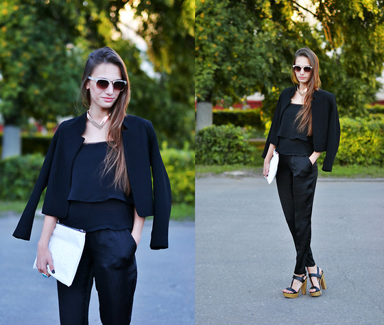 Kira Tumanova - H&M Loose Fit, Topshop Coat, Zara Clutch, Bershka Top, Topshop Eyeglasses, Bershka Shoes, River Island - I love black