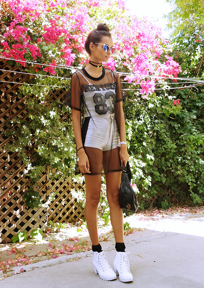 Gizele Oliveira - American Apparel Shorts, American Apparel Top, Topshop Shoes, Melrose Ave/ La Top - B&W