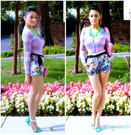 Marina Hidalgo - Forever 21 Stripe Cardigan, Forever 21 Printed Shorts, Shoedazzle Heel Sandals, T.J. Maxx Necklace, T.J. Maxx Clutch - Love Is Life. And If You Miss Love. You Miss Life