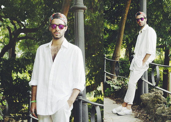 JJ Reyes - Neff Cap, Zerouv Sunglasses, Zara Shirt, Zara Pants, Xti Shoes - IN WHITE